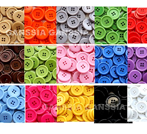 GANSSIA 0.98'' (25mm) Sewing Flatback Buttons15 Colors Multi Pack of 90 with Box (Each Color 6 pcs)