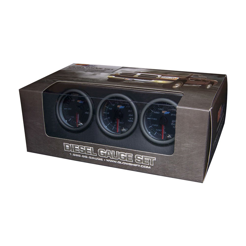 GlowShift Tinted 7 Color Diesel Truck 3 Gauge Kit Set - 60 PSI Boost - 2400 F Pyrometer Exhaust Gas Temp EGT - Transmission Temperature - Black Dial - Smoked Lens - 2-1/16' 52mm GlowShift Gauges GS-T7-DS10-SM