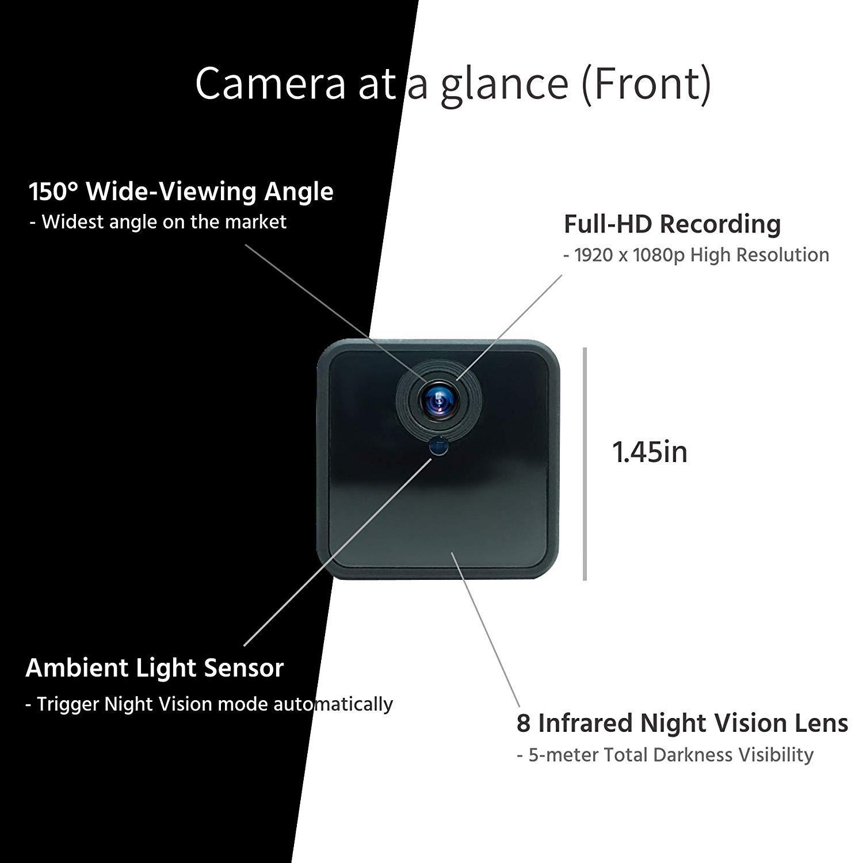C-Xka Cámara inalámbrica WiFi para espía, Mini cámara Oculta HD 1080P Grabadora de Video Auto Visión Nocturna para Seguridad doméstica Detección de ...