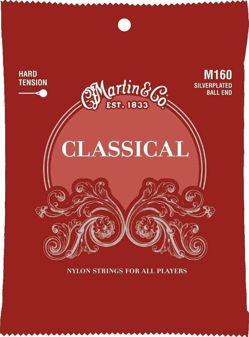 Martin M160 - Juego de cuerdas para guitarra clásica de entorchado plateado (extremo de bola)