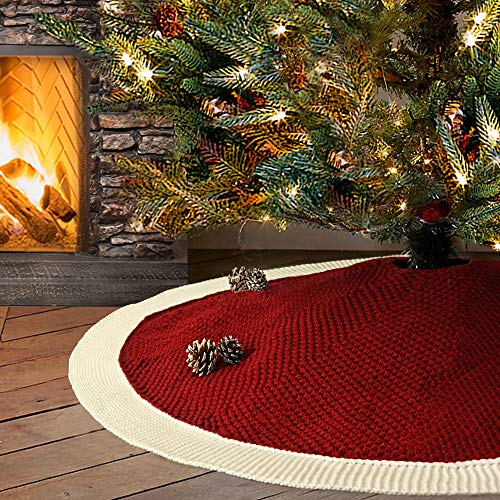 LimBridge Christmas Tree Skirt, 48 inches Knitted Knit Thick Heavy Yarn Rustic Xmas Holiday Decoration, Burgundy and Cream