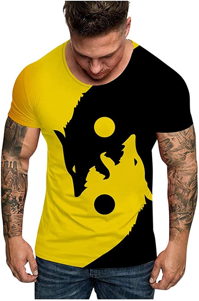 LANSKIRT Camiseta de Manga Corta con Estampado de Cabeza de Lobo Doble para Hombre 2020 Moda, Camisas Casual, Camiseta España Hombre Verano Talla Grande S-XXXL: Amazon.es: Ropa y accesorios
