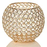 VINCIGANT Gold Crystal Bowl Candle Holders Centerpieces for Dining Room Table,Thanksgiving Home Decoration Candelabra,Gift Boxed,8 Inches Diameter