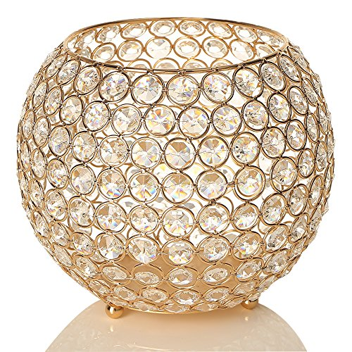 VINCIGANT Gold Crystal Bowl Candle Holders Centerpieces for Dining Room Table,Thanksgiving Home Decoration Candelabra,Gift Boxed,8 Inches Diameter]()