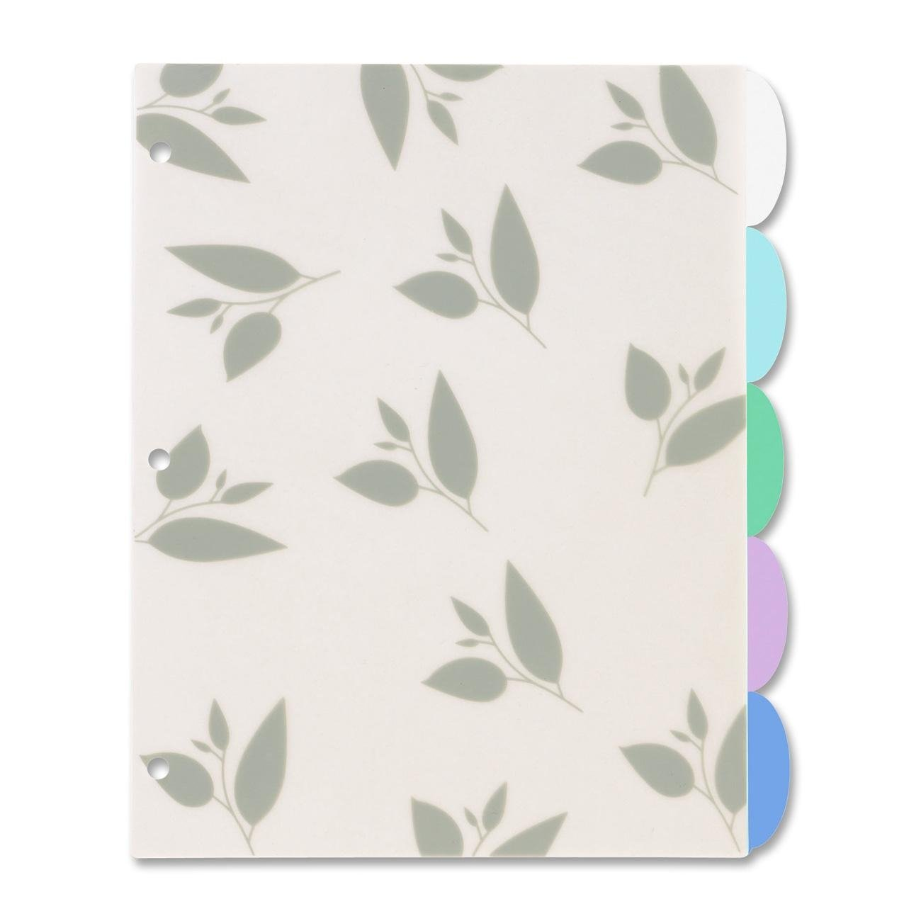 Avery Studio Collection Write-On Plastic Dividers, Bamboo Leaves, 5-Tabs, 1 Set (17170)