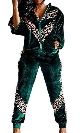 WSPLYSPJY Women s Velour Leopard Print Zip Jackets 2PCS Sets Pants Jog  Tracksuits Green XS 38eb1f04c7