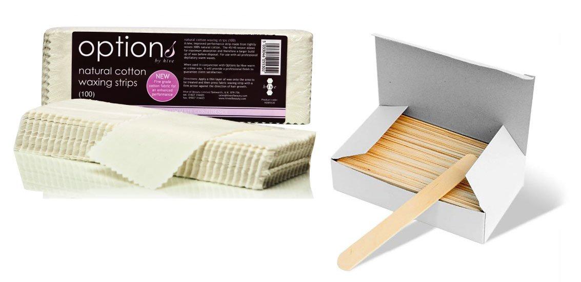 Fabric Wax Strips X 100 Hive + Box 100 Waxing Spatulas HIVE-HOB5530+HS#NBE