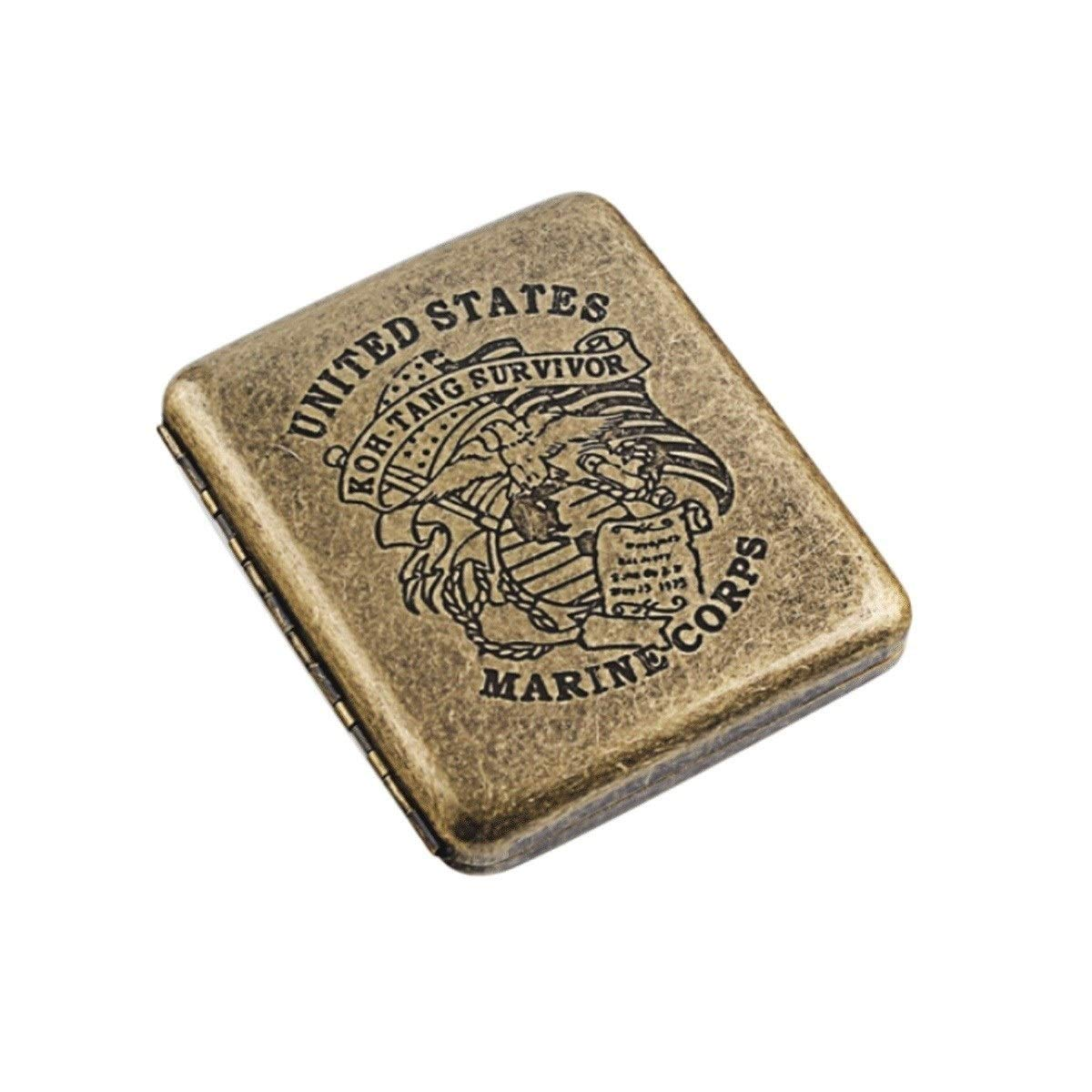 KALMAR Cigarette Case 20 Sticks Ultra-Thin Portable Flip-top Cigarette Holder Retro Stainless Steel Creative Cigarette Box, Men's Birthday Gift, Ideal Gift for Smokers, Brown, Cigarette B