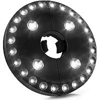 Luz para sombrilla de patio, 3 modos de iluminación, sin cable, 28 luces LED a 200 lux- 4 pilas AA, barra de sombrilla para patio, sombrillas, tiendas de campaña o uso al aire libre (negro)