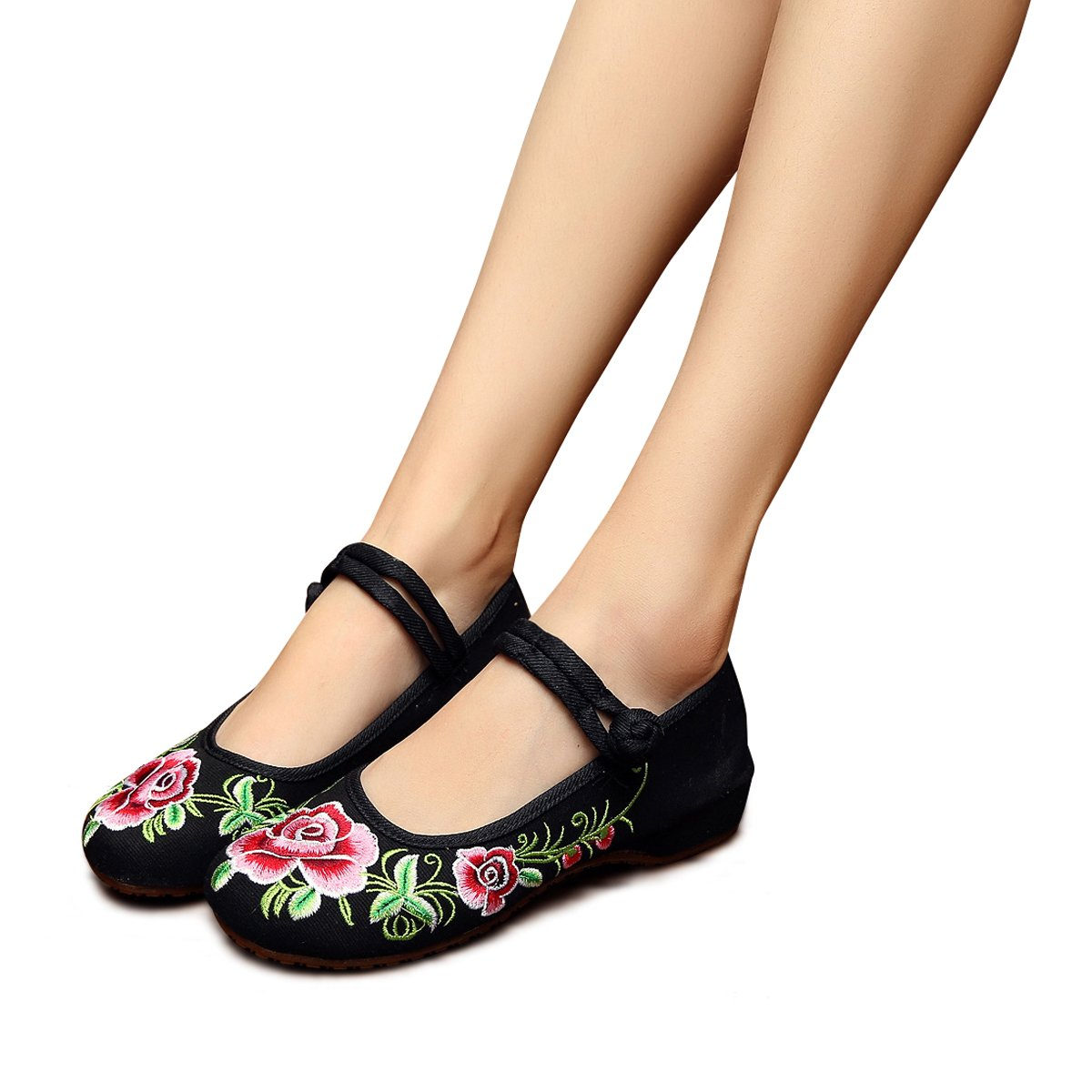 4b28542b5d77f Amazon.com | Veowalk Floral Embroidery Women's Canvas Shoes Mary ...