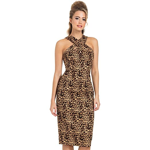 Rockabilly Dresses | Rockabilly Clothing | Viva Las Vegas Voodoo Vixen Lauren Leopard Pencil Dress Leopard $57.99 AT vintagedancer.com