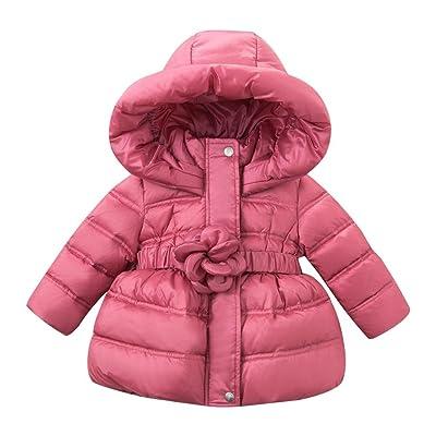 DAVE & BELLA Infant Baby Girls children Kids Dwn Jacket White Duck Down Padding Coat Hooded Outerwear Purple Pink 18M-7T (7T)