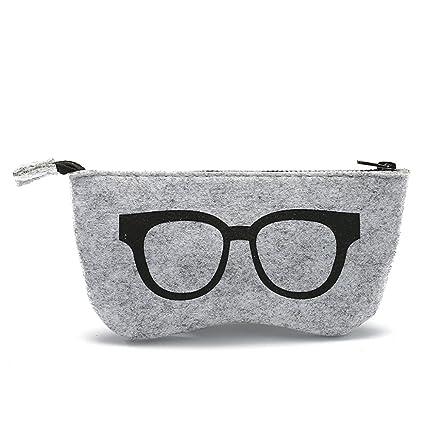 Daliuing - Bolsa de gafas blandas de fieltro portátil con cremallera, multifuncional, para maquillaje, monedero, gafas 18.5 * 9CM negro