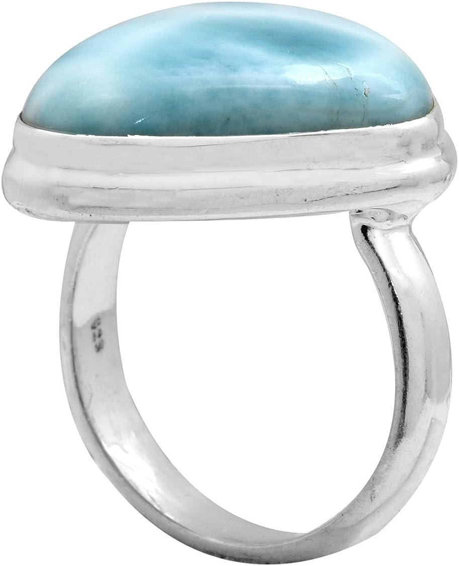 YoTreasure Natural Larimar Solid 925 Sterling Silver Ring