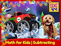 Christmas Subtracting - Learn Math for Kids with Monster Trucks and Lizzy the Dog