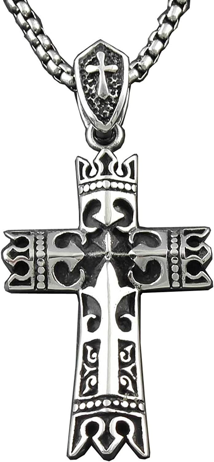N//H Cross Pendant Necklace Stainless Steel Classic Retro Charm Personalized Fashion Pendant Necklace