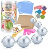 Caydo 176 Pieces DIY Bath Bomb Molds Set with Instructions Including 12 Pieces 3 Size DIY Metal Bath Bomb Molds Spoons Wrapping papers Shrink Wrap Bags for Crafting Your Own Fizzies