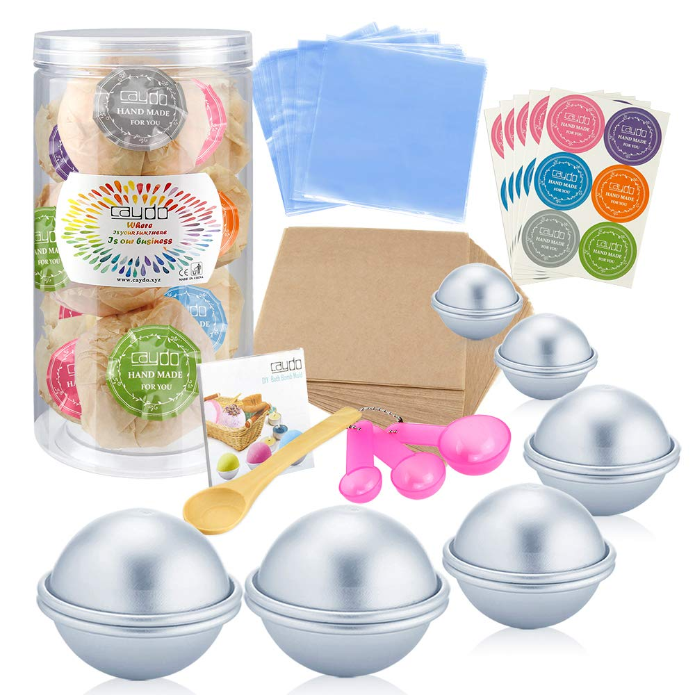 Shrink Wrap Bags for Crafting Your Own Fizzies Wrapping papers Caydo 176 Pieces DIY Bath Bomb Molds Set with Instructions Including 12 Pieces 3 Size DIY Metal Bath Bomb Molds Spoons