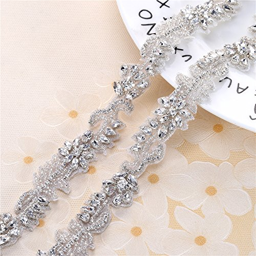 Rhinestone Formal Dress Belt Applique Crystal Beaded Bridal Wedding Sash Bridesmaid Gown Applique with Jeweled Diamond Embellishments Sew Iron on Hot Fix for Clothes