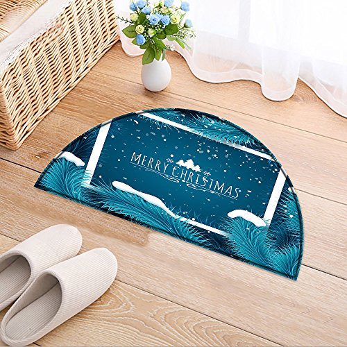 NALAHOMEQQ Semicircle Home Entrance Doorway Mat Holiday Christmas background. Frozen blue fir tree and text. Greeting card vector template Microfiber Door Mat(35.4x23.6 INCH)