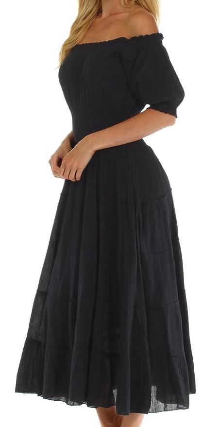 1a90ef1528 Sakkas Cotton Crepe Smocked Peasant Gypsy Boho Renaissance Mid Length Dress