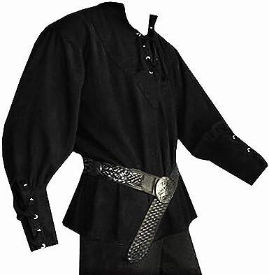 Pirate Shirt Medieval Renaissance Steampunk Costume Men Viking Tunic Shirt top