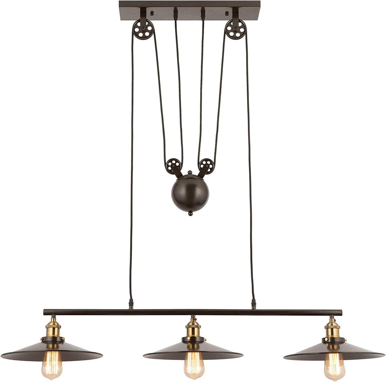 CO-Z Industrial Pulley Light, Adjustable Oil Rubbed Bronze Hanging Light for Kitchen Island, Billiard Pool Table, Kitchen Bar, 3 Light Pendant Lighting Fixture Farmhouse Linear Chandelier