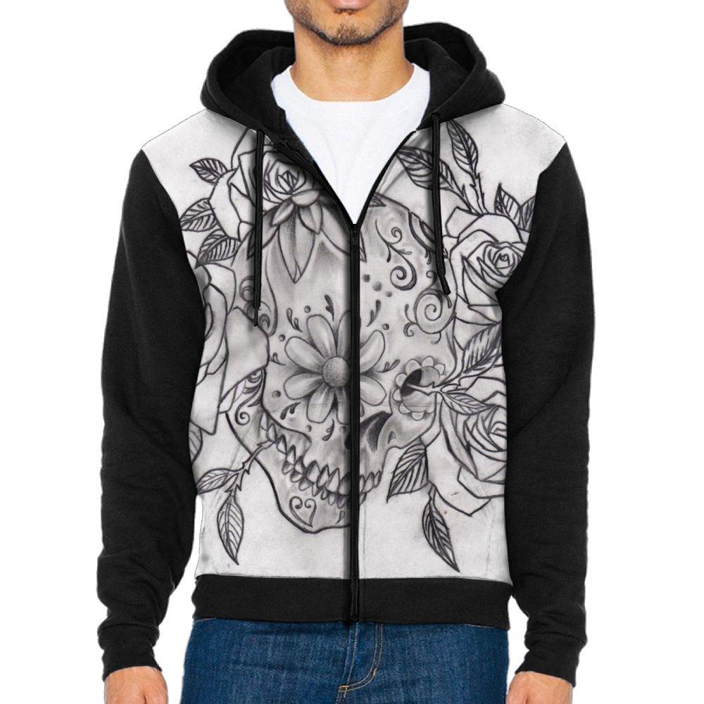 Futong Huaxia Mexican-Sugar-Skull Novelty Men Zipper Hoodie Sweatshirt Sportswear Jackets With Pockets Black