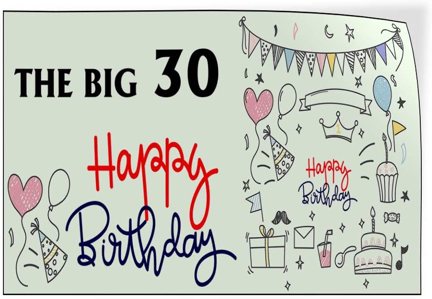 Custom Door Decals Vinyl Stickers Multiple Sizes The Big 30 Happy Birthday Holidays and Occasions Happy Birthday Outdoor Luggage /& Bumper Stickers for Cars Red 24X18Inches Set of 10