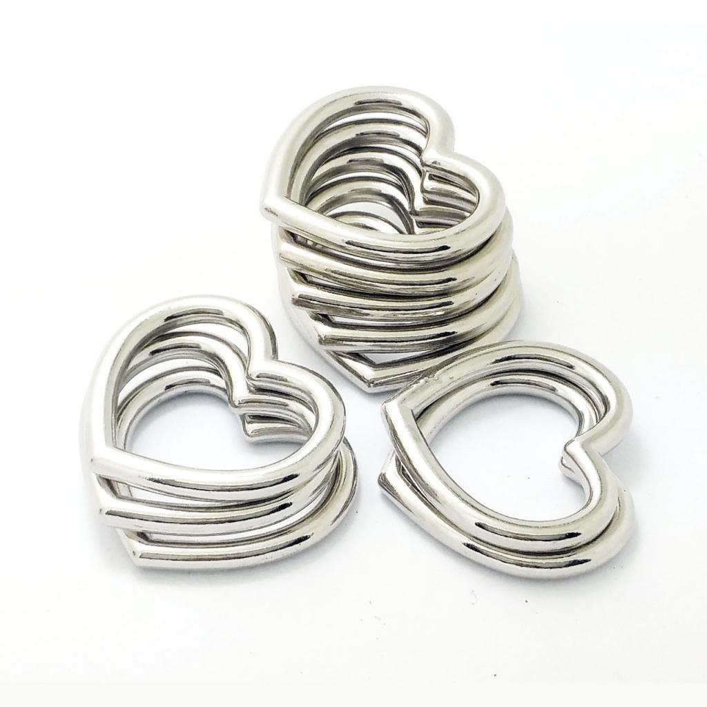 MagiDeal 10Pcs Boucle anneau O en Alliage de Zinc Diy Accessoire Ceinture  Boucle Métallique Sac à Main Vêtement Sans Soudure Solide - argent, 2.7CM  Coeur  ... fd09f10a15e