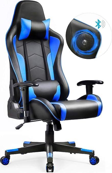 Blau GTPLAYER Gaming Stuhl Racing Stuhl Kunstleder B/ürostuhl h/öhenverstellbarer Schreibtischstuhl Ergonomisches Design mit Fu/ßst/ütze und Wippfunktion