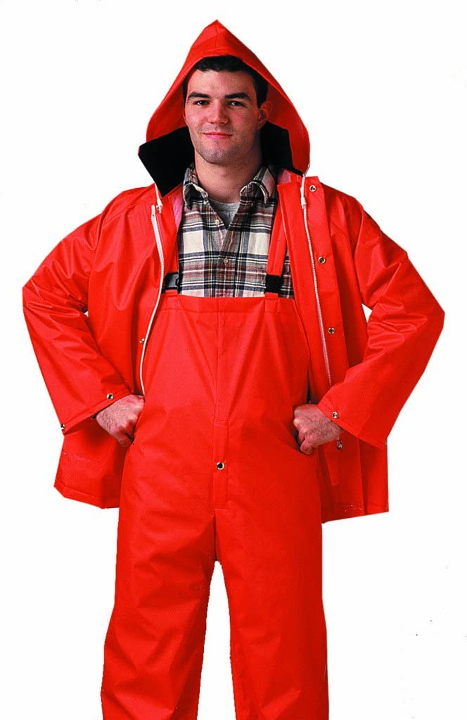 Blaze Orange Small COMFORT-TUFF S63219.SM 2 Piece .35mm PVC//Polyester Jacket Storm Fly Front Overalls with Attached Hood