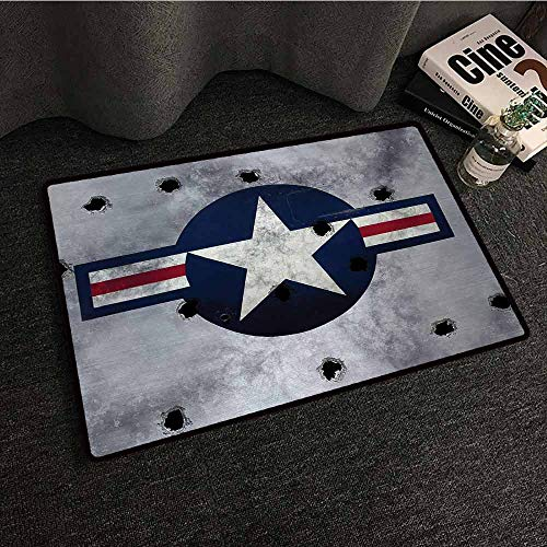 Poe Circle - DILITECK Door mat Airplane Star on Round Circle with Stripes with Grunge Effect Backdrop Aircraft Breathability W31 xL47 Red Grey Blue White