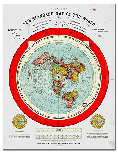 Flat Earth Map - Gleason's New Standard Map Of The World Wall Art Poster Print Glossy Photo