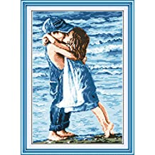 YEESAM ART New Cross Stitch Kits Advanced Patterns for Beginners Kids Adults - Lovers Seaside 11 CT Stamped 39×54 cm - DIY Needlework Wedding Christmas Gifts