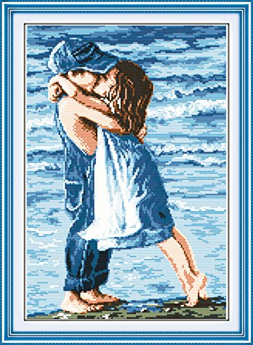 YEESAM ART® New Cross Stitch Kits Advanced Patterns for Beginners Kids Adults - Lovers Seaside 11 CT Stamped 39×54 cm - DIY Needlework Wedding Christmas Gifts - Graduation Cross Stitch Patterns