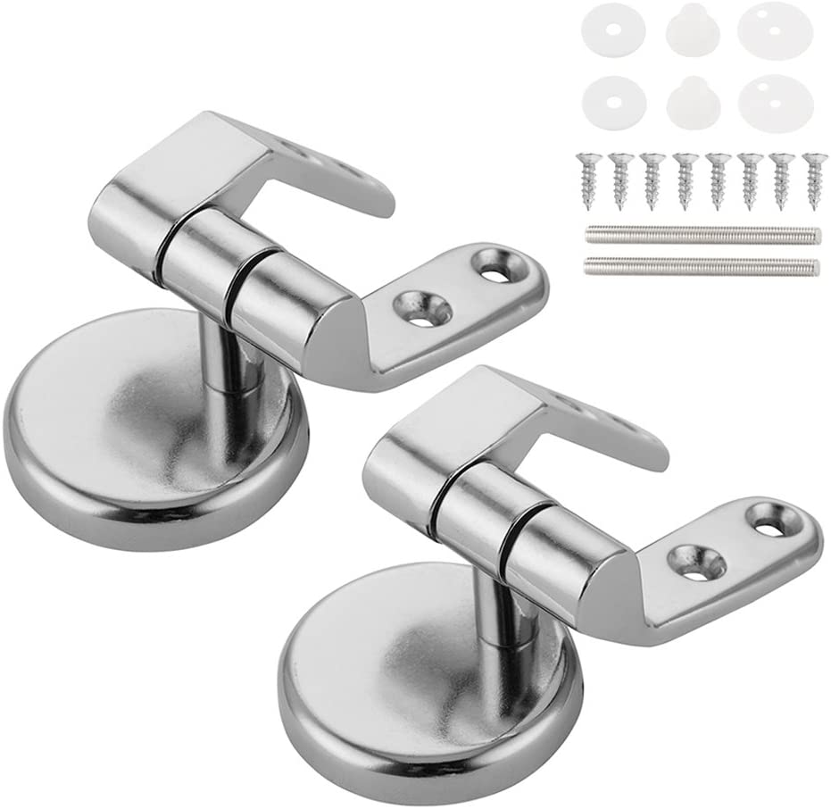 Pair of Toilet Seat Hinge Mounting Kit Replacement Fix Fitting for Wood MDF seat