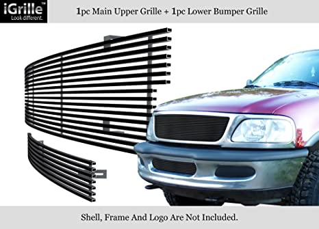 APS Fits 1997-1998 Ford F-150 4WD Bar Style/Expedition Black Billet Grille Combo #F87951H