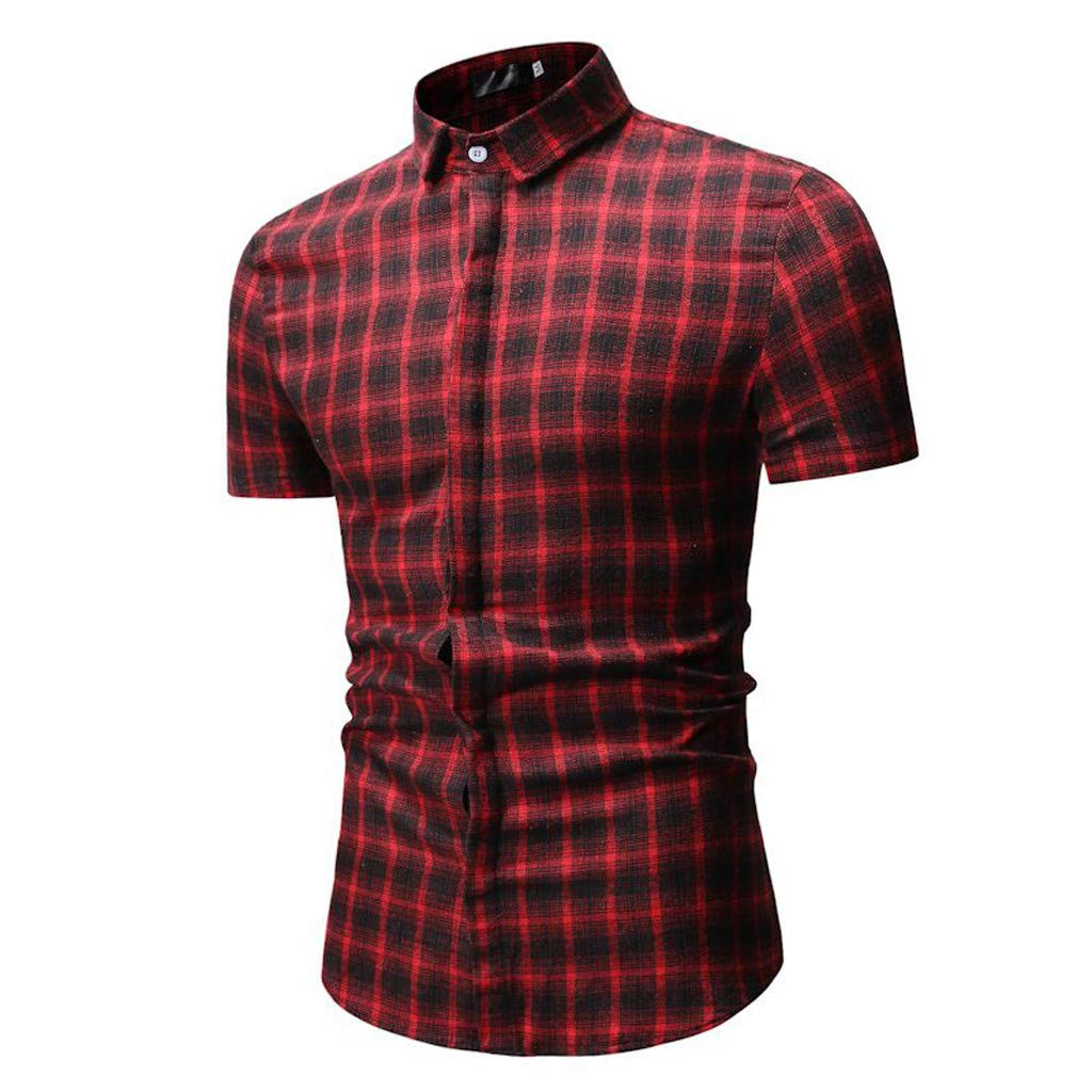 Summer Shirts for Men Simple Fashion Chequered Short-Sleeve Shirt Cozy Leisure Blouse Tops