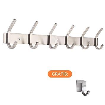 smartpeas Perchero de Acero Inoxidable Medidas 43x8x3.8 cm - aguanta hasta 30 kg - 6 Ganchos fijos + 2 Ganchos autoadhesivos Gratis - Apariencia ...