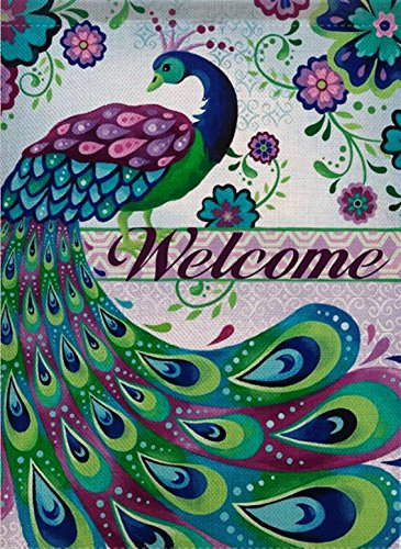(Dyrenson Peacock Garden Flag Welcome Quote Double Sided, Daisies House Yard Flag, Pansies Garden Yard Decorations, Home Decorative Vertical Holiday Seasonal Outdoor Flag 12.5 x 18)