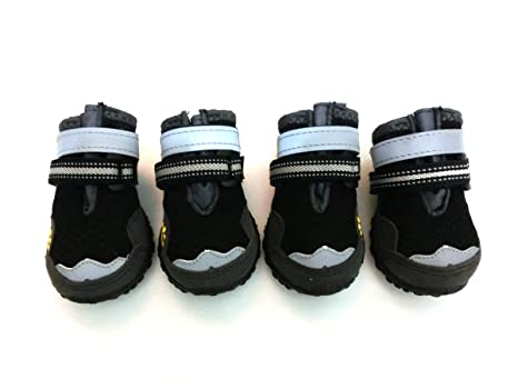 5aaac0e4f13 Xanday Breathable Dog Boots, Mesh Dog Shoes, Paw Protectors with Reflective  and Adjustable Straps and Wear-Resisting Soles,4pcs