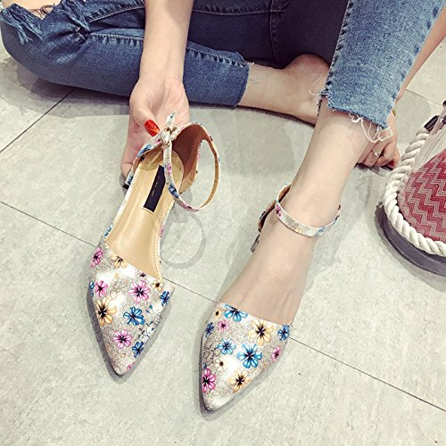 Shoes And Print Mouth Elegant Buckles Beautiful Women'S Coarse Profile Hollow Shoes Shoes Forty Gray Low KPHY Shallow Summer Pointed Face wqCT4t0n