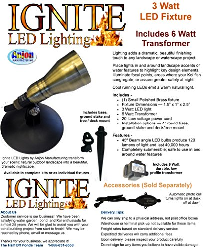 Ignite LED Lighting – (1) 3 Watt Polished Brass LED Light, Includes 6 Watt Transformer