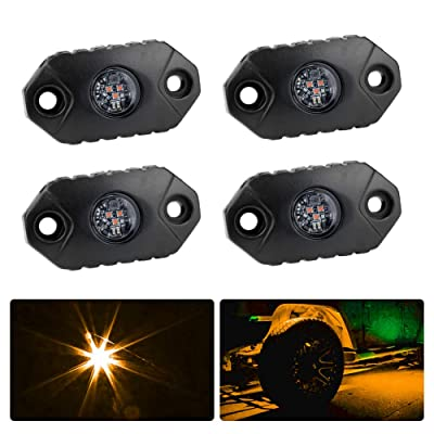 4WDKING Amber LED Rock Lights, 4 Pods IP68 Waterproof Underbody Glow Trail Rig Lamp LED Neon Lights for Truck Jeep Off Road Truck Car Boat ATV SUV Motorcycle: Automotive