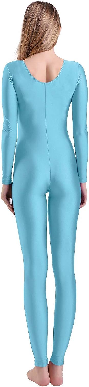 Kepblom Womens Long Sleeve Scoop Neck Unitard Spandex Bodysuit for Dance Gymnastic Costume