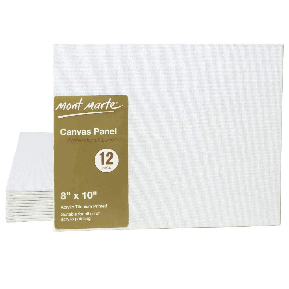 Suitable for Artists at All Skill Levels. Mont Marte Professional Series Painting Canvas Panels 8 x 10 inch 24-Pack