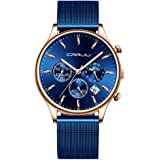 CRRJU Men's Watches Auto Date Chronograph Watch Men Sports Watches Waterproof 30M Full Steel Quartz with Mesh Strap