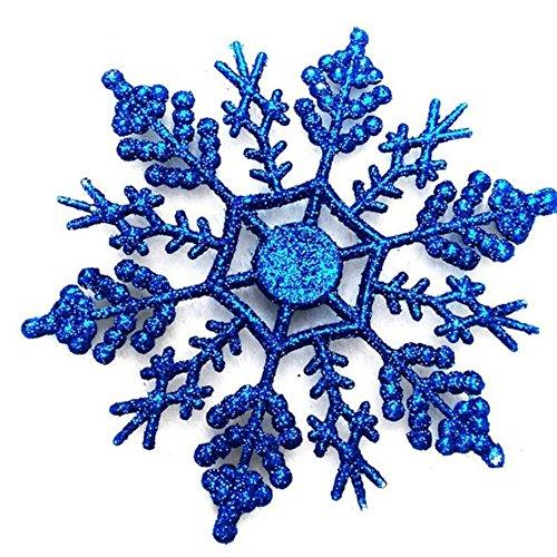 12Pcs / Set Glittered Noël Flocon de neige Ornements 10cm Iridescent Xmas Arbre Suspendus Décorations.