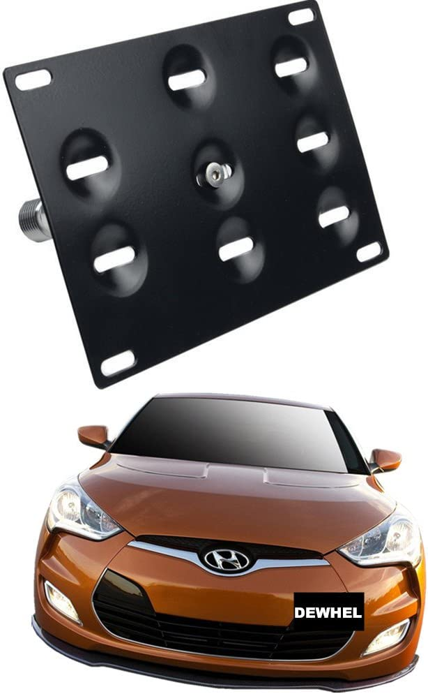 iJDMTOY No Drill Front Bumper Tow Hook License Plate Mounting Bracket Adapter Kit for 2011-2018 Hyundai Veloster iJDMTOY Auto Accessories Relocate Relocator Use Tow Eye Opening